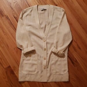 Vintage Houndstooth White Cardigan Blazer